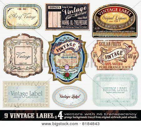 Vintage Labels Collection - 9 design elements with original antique style -Set 4