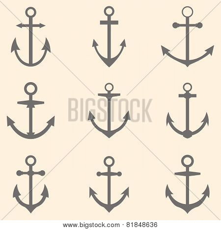 Set Of Anchors. Anchor Symbols Or Logo Template