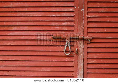 Red wharehouse door