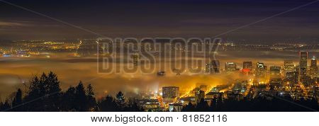 Rolling Fog Over City of Portland Oregon at Dawn poster