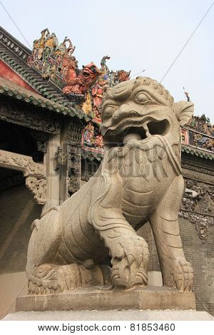 Chinese Decoration In Front Of Ancestral Temple Of The Chen Family