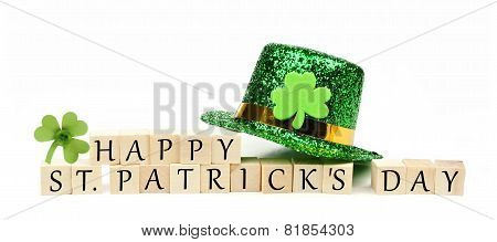Happy St Patricks Day message with decor