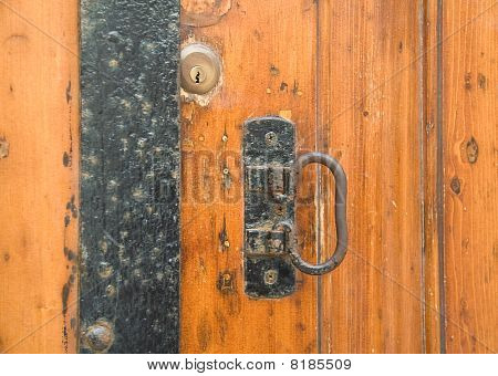 Extreme close up of a door latch. poster