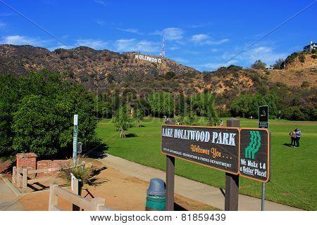 Hollywood Sign At Lake Hollywood Park