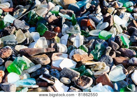 Polished glass stones at the beach
