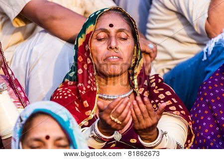 Hindu Lady in Meditation