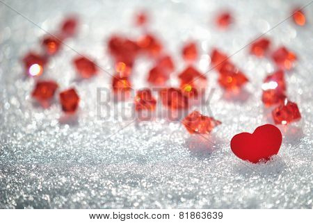 Red Heart In Glittering Snow