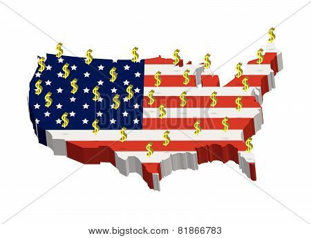 America Map Flag Pattern With Dollar Symbol