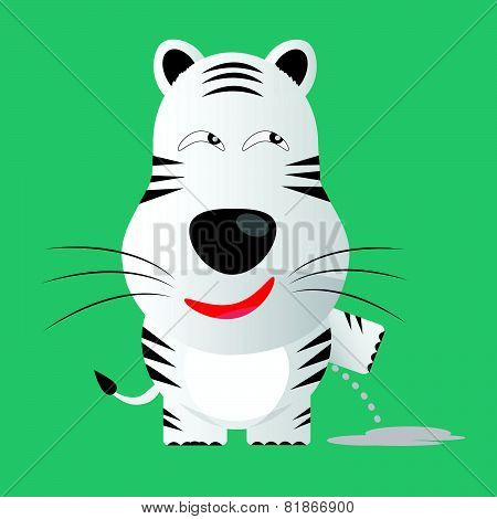 Tricky White Bengal Tiger Gartoon Character