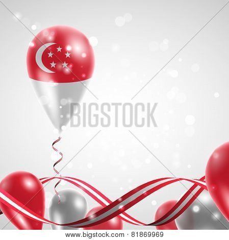 Flag of Singapore on balloon