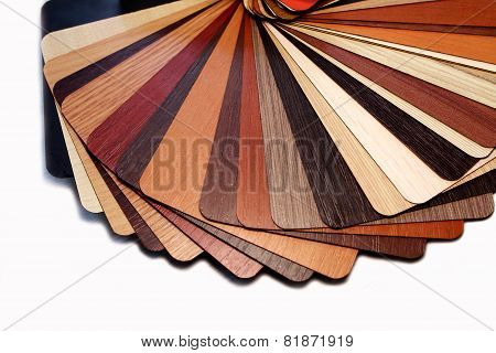 Color swatches laminated chipboard