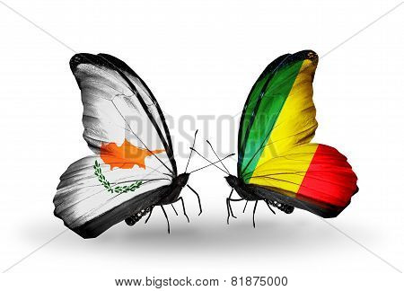 Two Butterflies With Flags On Wings As Symbol Of Relations Cyprus And Kongo
