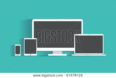Electronic devices with blank screens. Desktop computer, tablet