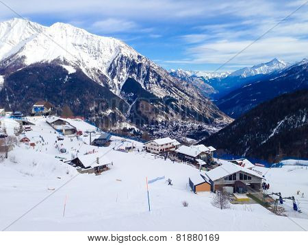 ski slopes in the mountains of Courmayeur winter resort, Italian Alps