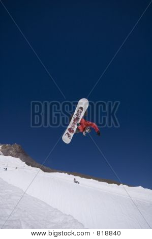 Snowboarder in a halfpipe