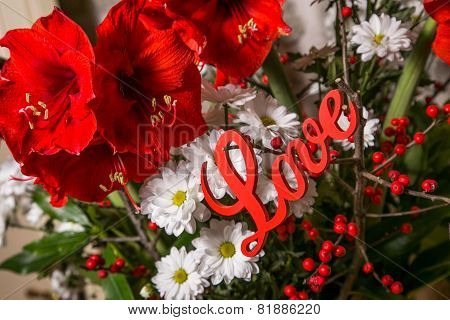 Red Flowers With Wooden Sign Love