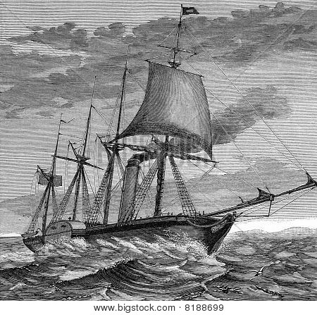 Engraving of SS Great Western steamship sailing on sea. Scanned from: JF Nicholls and John Taylor Bristol Past and Present (Bristol Arrowsmith 1882). Cited an unknown author for engraving public domain image by virtue of age. poster