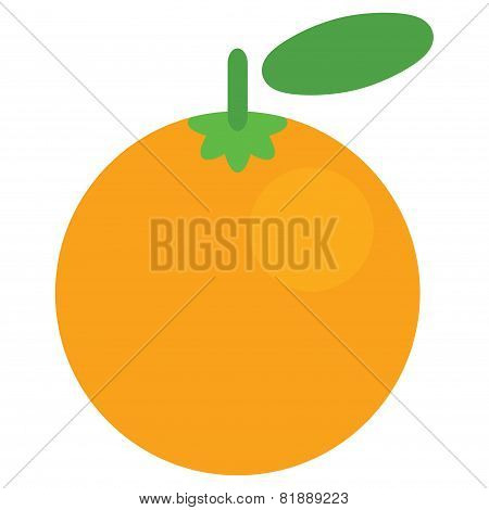 Cartoon Vector Graphic Juicy Orange Fruit Isolated In White Background