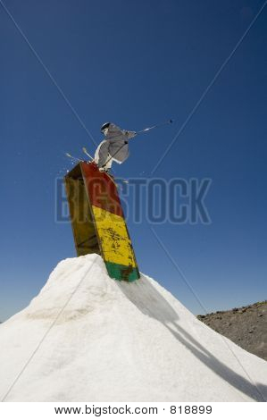 Skier on a box