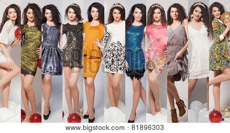 Beauty collage. Fashion photo of beautiful woman in glamour dress