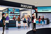 A vector illustration of shoppers shopping for cosmetic in a department store poster