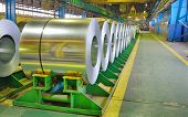 Cold rolled steel coils stored in a steel plant poster