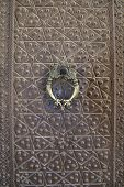 Vintage bronze door and door handle in Agha Bozorg mosque, Kashan, Iran. poster