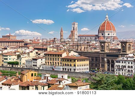 Italy Toscana Florence. General view of the city. Cathedral Santa Maria del Fiore. Towers of National Museum of the Bargello and Badia Florentina poster