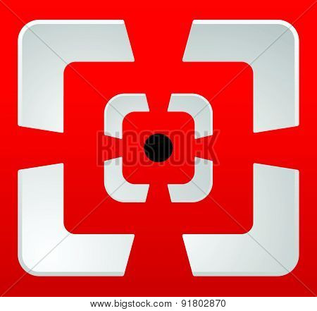 Abstract Cross Hair, Target Mark (reticle) Vector Icon.