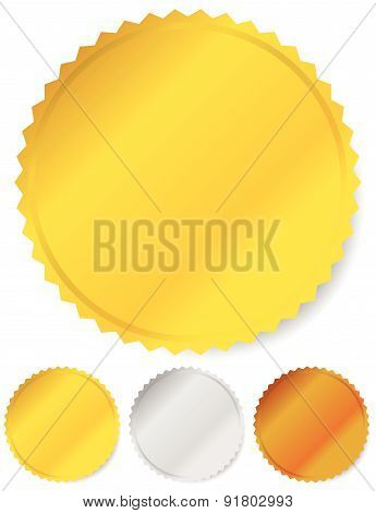 Gold silver and bronze badges starburst shapes. Price flashes. poster