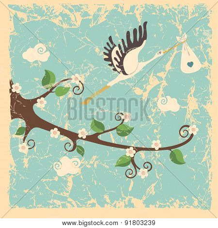 Vintage cartoon flowering branch, stork ,newborn baby boy