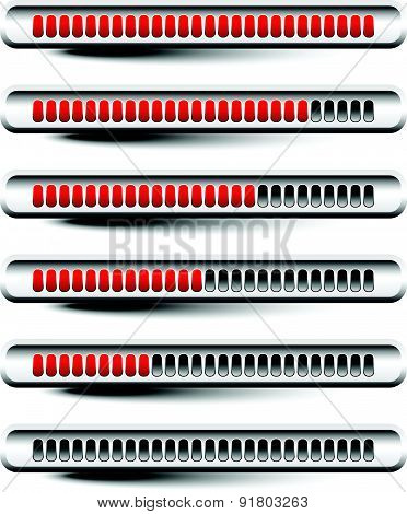 Horizontal Progress Or Loading Bars With Red Units.