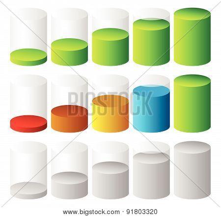 3d Cylinder level completion fullness or progress indicators. poster