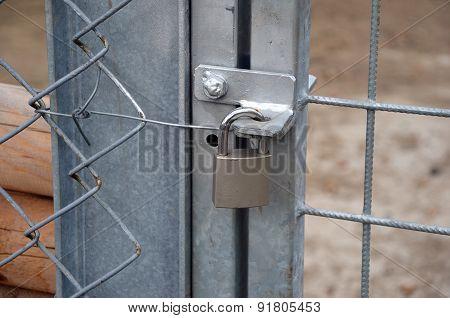 Metal Padlock Locking New Metal Gate And Fence