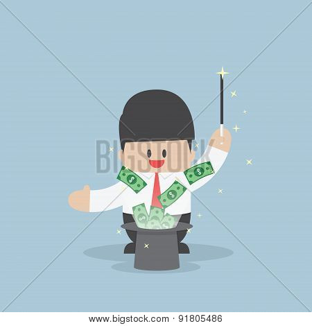 Businessman With Money Flying From Magic Hat
