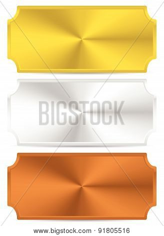 Gold, Silver, Bronze Metal Plates, Plaques. Vector.