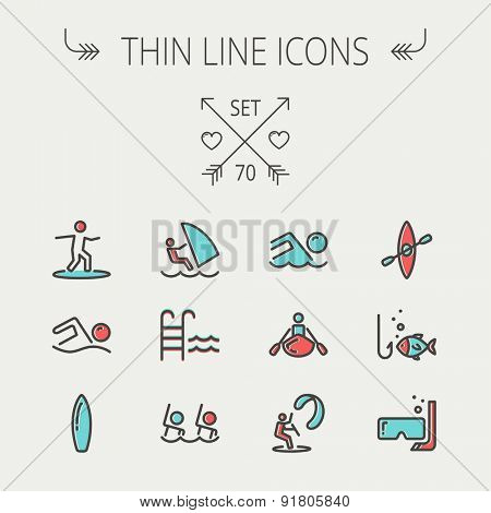 Sports thin line icon set for web and mobile. Set includes -wind surfing, pool, swimming, surfboarding, kayak, wind surf, snorkeling, fishing icons. Modern minimalistic flat design. Vector icon with