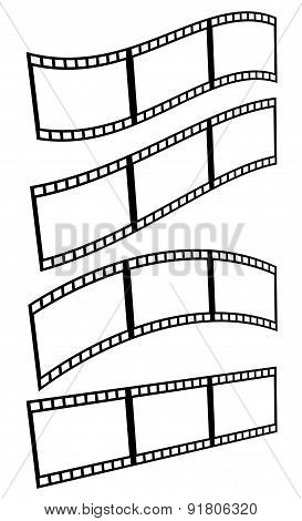 Filmstrips film frames with different distortions (arcing waving) isolated on white. poster