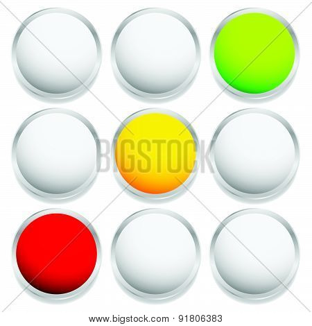 Vector Control Lights, Semaphores Or Traffic Lamps Isolated On White.