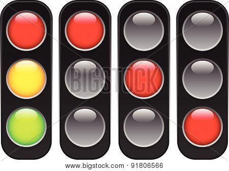 Traffic Lamps, Lights Isolated On White. Control Lights. Vector.