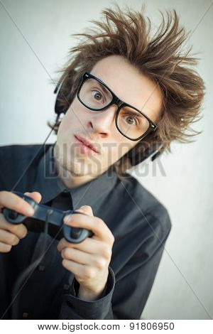 Young Nerd Playing Video Games