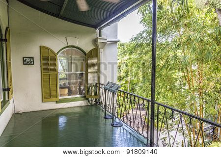 Porch On The Side Of  Ernest Hemmingways House In Key West, Usa