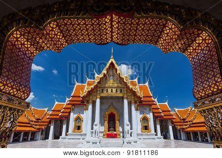 Traditional Thai architecture Wat Benjamaborphit or Marble Temple Bangkok