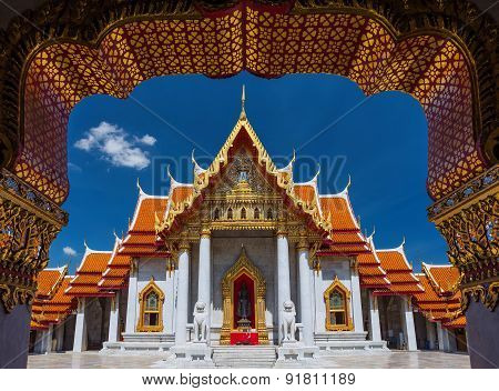 Traditional Thai architecture Wat Benjamaborphit or Marble Temple Bangkok