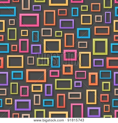 Colorful picture frames seamless background