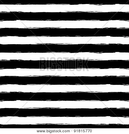 Vector Watercolor Stripe Grunge Seamless Pattern. Abstract Black And White Brush Strokes Background