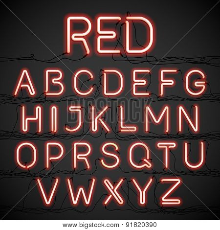 Red neon glow alphabet with wires. Vector.
