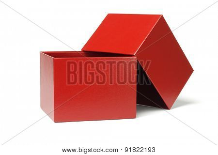 Open Red Gift Box on White Background