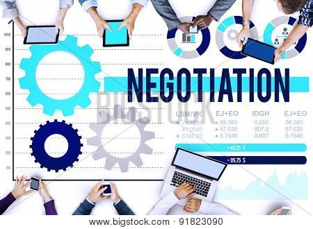 Negotiation Compromise Decision Contract Benefit Concept poster