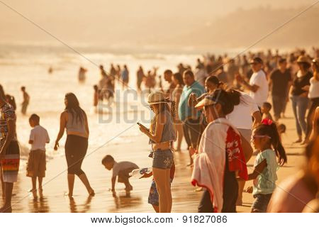 Crowded Santa Monica Beach